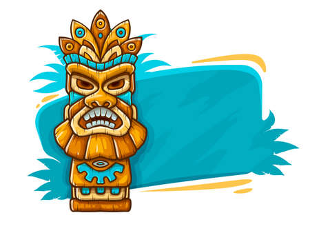 Banner with Tiki ethnic traditional tribal mask. Totem symbol with human face from hawaiian culture, isolated on white background. EPS10 vector illustration.
