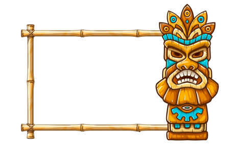 Tiki traditional hawaiian tribal mask with human face on bamboo frame with copyspace. Wooden totem symbol, god from ancient culture of Hawaii. Hand drawn in cartoon style, isolated on white background. EPS10 vector illustration.