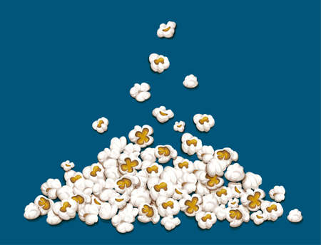 Popcorn fall down on heap isolated on blue background. EPS10 vector illustration.