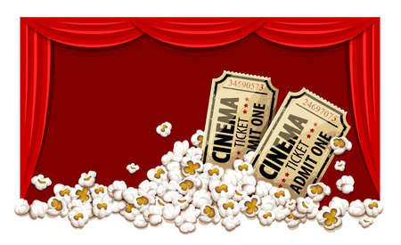 Movie theater with red blinds. Cinema hall. Film tickets in popcorn. Vector illustration.