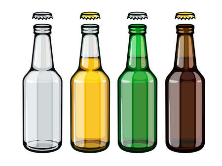 Beer bottles set of empty and full filled with crafting brewery beer drink glass tare opened with caps, isolated white background. EPS10 vector illustration.