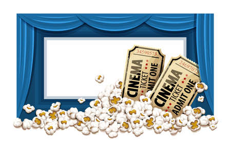 Movie theater with blue blinds and white blank screen. Cinema hall. Film tickets in popcorn. Vector illustration. Illustration