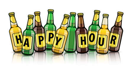 Free Beer bottles with happy hour text on labels. Set of full filled with crafting brewery beer drink glass tare closed with caps, isolated white background. EPS10 vector illustration. Illustration