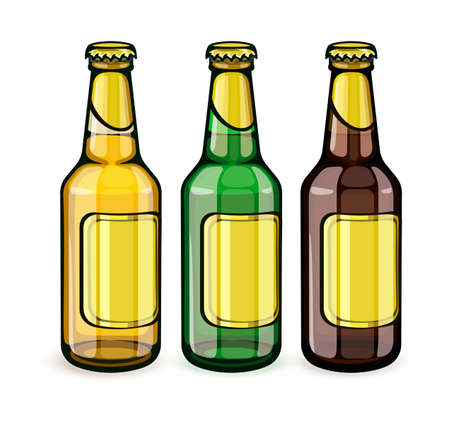 Beer bottles with blank gold labels. Set of full filled with crafting brewery beer drink glass tare closed with caps, isolated white background. EPS10 vector illustration. Illustration