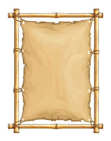 Bambusrahmen mit altem zerrissenem Textilgewebe-Banner, fest mit Seilen, mit vertikalem Copyspace-Platz für Text im Karikaturstil, isolierter weißer Hintergrund. EPS10 Vektorillustration. Vektorgrafik