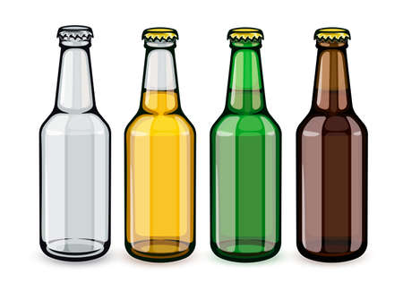 Beer bottles set of empty and full filled with crafting brewery beer drink glass tare closed with caps, isolated white background. EPS10 vector illustration.