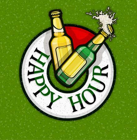 Happy Hour mit Freibier in Flaschen. Brauereikonzept des Plakats für Bar oder Kneipe mit billigen Getränken in der Rabattzeit. Glasflaschen mit Schaumspritzer auf dem Zifferblatt der Uhr. EPS10 Vektorillustration.