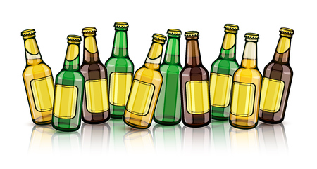 Beer bottles with blank gold labels. Set of full filled with crafting brewery beer drink glass tare closed with caps, isolated white background. EPS10 vector illustration.