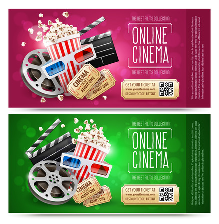 Cinema flyers, banners with gift coupons. Free gold tickets with discount. Elements of cinematography and motion picture movies. Popcorn in paper cup, producer firecracker, disc with film tape, isolated white background. Vector illustration.