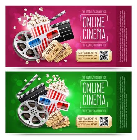 Ulotki kinowe, banery z kuponami upominkowymi. Darmowe złote bilety ze zniżką. Elementy kinematografii i filmów kinowych. Popcorn w papierowym kubku, producent petardy, dysk z taśmą filmową, na białym tle. Ilustracja wektorowa.