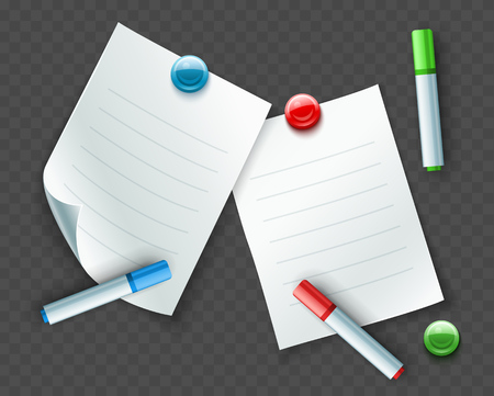 Paper sheets for notes and messages with coloured markers and magnetic pins, isolated white background. EPS10 vector illustration. Illustration