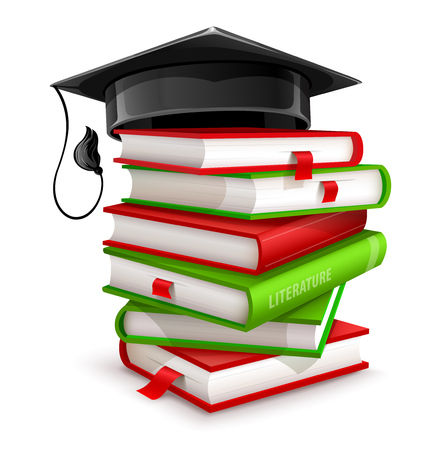 Big pile of books. Isolated on white background. School educational literature and black graduation or professors cap. EPS10 vector illustration. Illustration