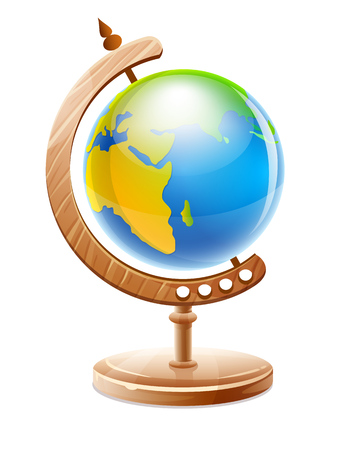 Planet Earth globe on wooden support for geography studying and travel, isolated white background. EPS10 vector illustration.