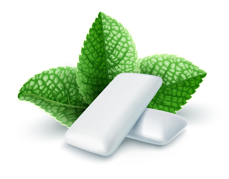 Pads of bubble gum with mint flavour. Green leaves spearmint for fresh breathing. Chewing gums for healthy teeth and dental hygiene. Refreshing sweet candy, isolated on white background. EPS10 vector illustration.