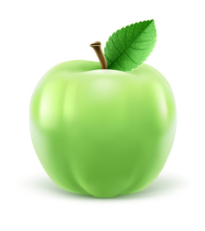 Green apple with leaf, isolated white background. EPS10 vector illustration. Illustration