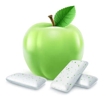 Pads of bubble gum with green apple flavour. Green leaf. Chewing gums for healthy teeth, fresh breathing and dental hygiene. Refreshing sweet candy, isolated on white background. EPS10 vector illustration. Illustration