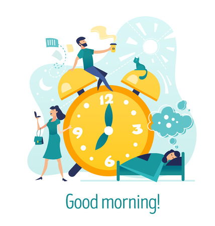 Good morning. Creative abstract concept with flat cartoon characters around alarm clock. Morning coffee, woman does make-up, girl sleeps in bed and see dreams. EPS10 vector illustration isolated on white background. Illustration