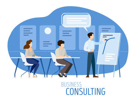 Modern business consulting concept. Flat design with cartoon characters. Teamwork training education for people sitting at desks in classroom in front of lecturer with chart, isolated on white background. Message cloud. EPS10 vector illustration. Illustration