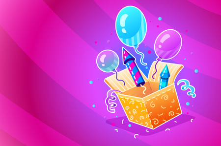 Birthday Party. Gift box with festive balloons, firework rockets, serpentine and confetti. Flyer for birthday holiday party. Vector illustration.