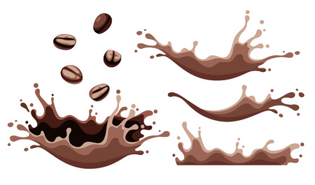 Set of splashes of coffee. Coffee beans falling in morning drink with spray, splash, drops and foam, isolated on white background. EPS10 vector illustration.