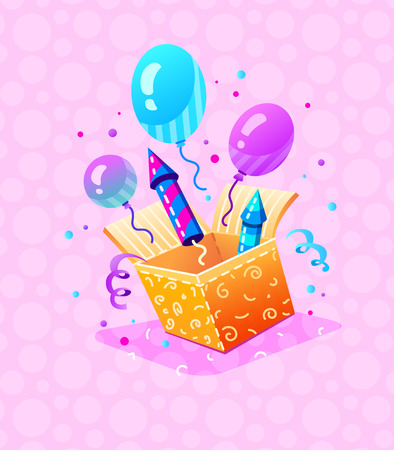 Birthday Party. Gift box with festive balloons, firework rockets, serpentine and confetti. Invitation for birthday holiday party. Vector illustration.