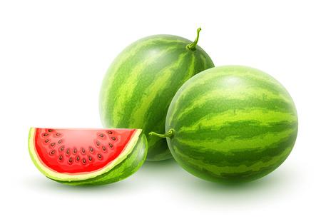 Słodkie arbuzy. Całe świeże, dojrzałe słodkie owoce z pokrojonym w plasterki soczystym kawałkiem. Realistyczne owoce arbuza, na białym tle. Ilustracja wektorowa Eps10.