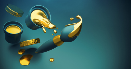 Gold paint with splashes pouring out of bucket and brush with falling drops. Raster, 3d rendered illustration.