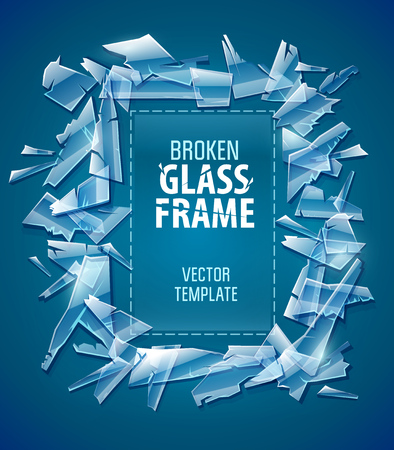 Broken glass frame. Decorative element for design made of transparent glass fragments with copyspace, place for text. EPS10 vector illustration. Illustration