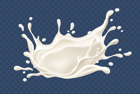 Milk splash. Realistic milky splashes and drops of dairy drink or yoghurt isolated on transparent background. EPS10 vector illustration. Gradient mesh used. Illustration
