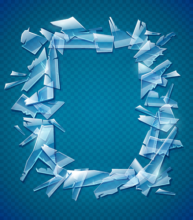 Broken glass frame. Decorative element for design made of transparent glass fragments with copyspace, place for text. EPS10 vector illustration. Ilustração
