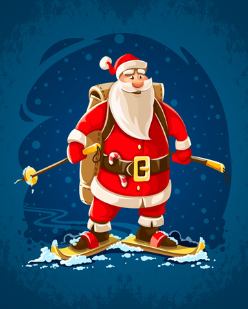 Christmas Santa Claus. Merry cartoon character on skis go by winter snow hurry to christmas holiday with backpack full of gifts for children. EPS10 vector illustration. Illustration