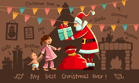 Christmas holiday. Santa Claus gives Gifts to happy girl in pajama, small kid baby brother. Interior with christmas tree, fireplace, gift boxes, garlands of flags. Greeting card. Vector illustration. Illustration
