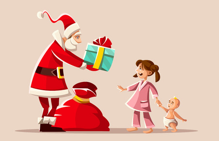 Christmas holiday. Santa Claus gives Gifts to happy girl in pajama, small kid baby brother. Greeting card. Vector illustration. Illustration