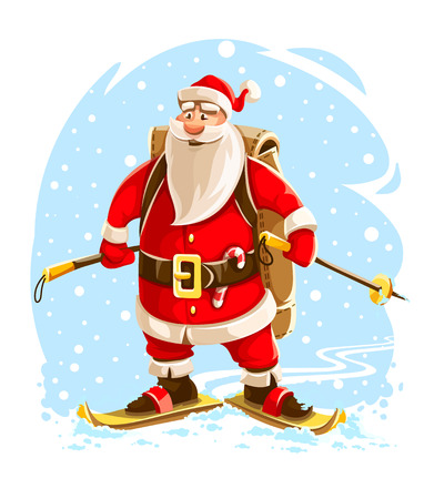 Christmas Santa Claus. Merry cartoon character on skis go by winter snow hurry to christmas holiday with backpack full of gifts for children. EPS10 vector illustration isolated on white background.