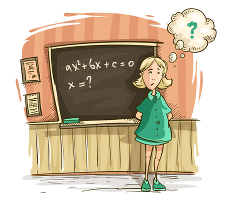 Schoolgirl at lesson in school. Girl by blackboard discouraged thinks on decision of task with equation of mathematics. Hand drawn cartoon character, isolated white background. EPS10 vector illustration.