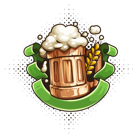 Wooden Beer mug with beer and froth for Octoberfest brewery festival. Ear of wheat and ribbon with place for text. EPS10 vector illustration isolated on white transparent background.