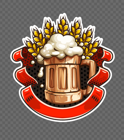 Sticker of Wooden Beer mug with beer and froth for Octoberfest brewery festival. Ears of wheat and ribbon with place for text. EPS10 vector illustration. Illustration