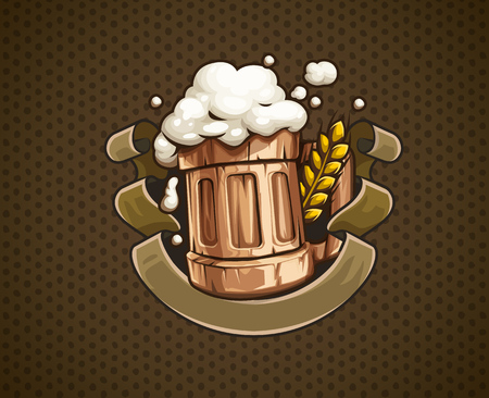 Wooden Beer mug with beer and froth for Octoberfest brewery festival. Ear of wheat and ribbon with place for text. EPS10 vector illustration.