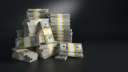 Batches with dollars. Heaps of paper money packs. Million jackpot winning in lottery, symbol of riches and luxury. American (USA) dollar currency. Finances and banking concept. 3d rendered raster illustration with clipping path included.