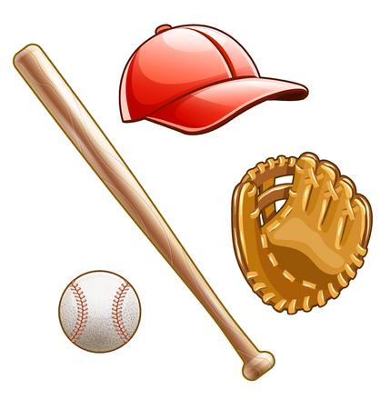 Équipement de basket-ball et inventaire pour joueur de jeu de sport d'équipe. Batte en bois, balle en cuir, gant, casquette de baseball avec visière, isolée sur fond blanc. Illustration vectorielle EPS10. Vecteurs