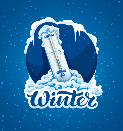 Winter frost calligraphic text and sign. Cold weather. Thermometer with low temperature in snow, frosted and frozen icicles. Concept for Weather Forecast in blue circle. Vector Illustration. 向量圖像
