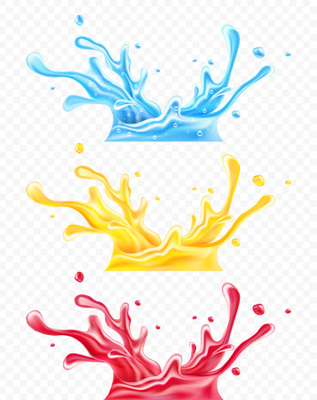 Set of splashes of clean drinking mineral water, orange and raspberry juices. Spray scattering drops isolated on transparent background, gradient mesh used. EPS10 vector illustration.
