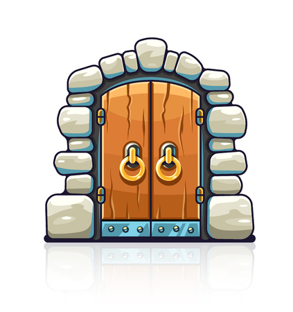 Fairy-tale door with golden handles. Entrance to stone dungeon or secret room with treasures. Isolated white background.