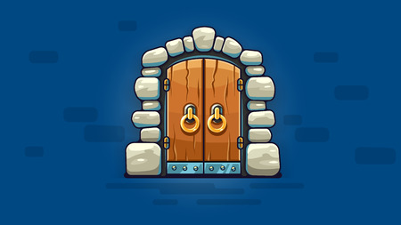 Fairy-tale door with golden handles. Entrance to stone dungeon or secret room with treasures. Banner on blue background. Illustration