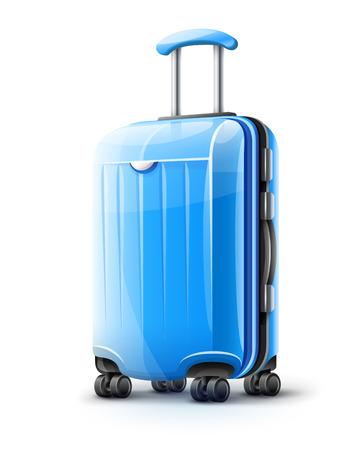 旅行のための青モダンなスーツケース、白い透明な背景に分離されたケースのアイコン。EPS10 ベクトルのイラスト