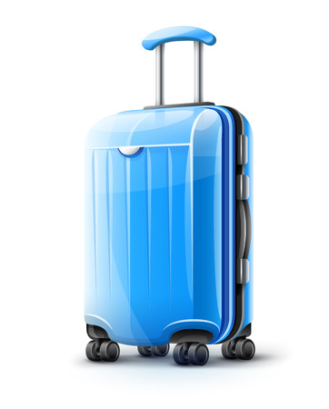Blue modern suitcase for travel, case icon isolated on white transparent background. EPS10 vector illustration