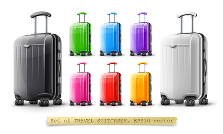 Set of modern suitcases for travel, case icons isolated on white transparent background. EPS10 vector illustration