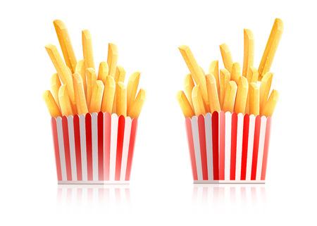 Frites. Pommes de terre dans une boîte en papier. Snack restauration rapide à emporter. Collations de chips de pommes de terre rôties populaires dans un emballage en carton, isolées sur fond transparent blanc. Réaliste. Illustration vectorielle.