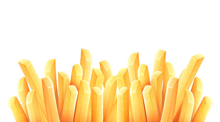 French fries. Roasted potato chips in deep fat fry oil potatoes. Yellow sticks. Fastfood. Unhealthy tasty food. Horizontal banner, isolated on white background. Eps10 vector illustration. Illustration
