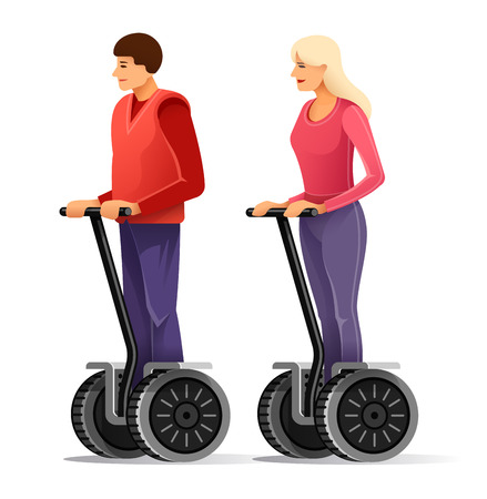 Tourists on self-balancing personal transporter. Young man and girl drive big electric scooter wheels.